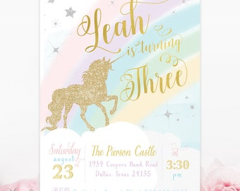 Unicorn Birthday Invitation, Unicorn Party Invitation, Unicorn Girl Birthday Invite, Magical Party Invite, Any Age! Stars, Rainbows - Leah