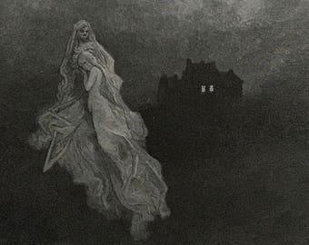1884 The Raven By Edgar Allen Poe Original Gustave Dore #DorePoe6