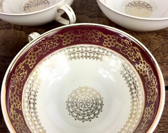 vintage soup or cafe au lait bowls, set of six ceramic ivory ware