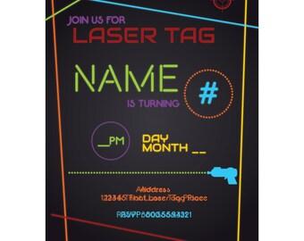 Custom Laser Tag Birthday Invite