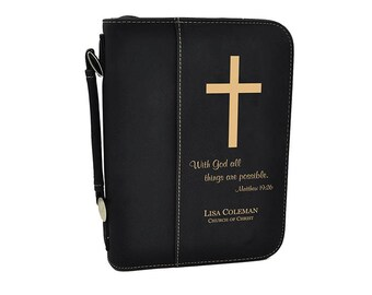Custom Bible Cover, Holy Bible Cover with Cross, Confirmation Communion Gift,Personalized Bible, Bible case, Leather Bible Cover