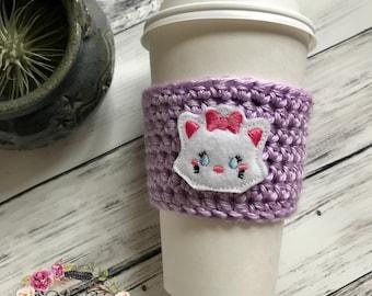 Marie Cat Cozie / Cozie / Cozies / Coffee Cozie / Tea Cozie / Tumbler Cozie / Crochet Cozie