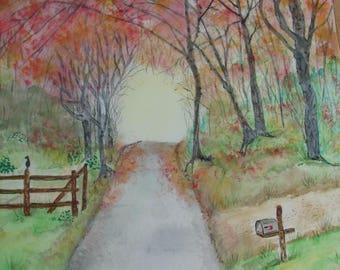 Watercolor Painting, Original Watercolor, Fall Watercolor Painting, Autumn Painting, Fall Watercolor, Original Watercolor Painting
