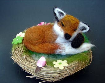 Needle Felted Fox, Felted Fox, Wool Fox, Wool Felted Fox, Fox, Sleeping Fox, Soft Sculpture Fox, Fox Figurine