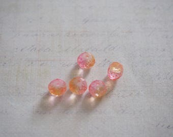 6 pink/orange 8mm faceted Crystal beads