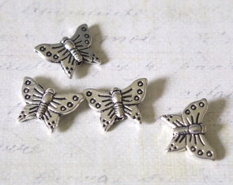 3 beads silver plated metal Butterfly 16 x 12 x 3, 5mm