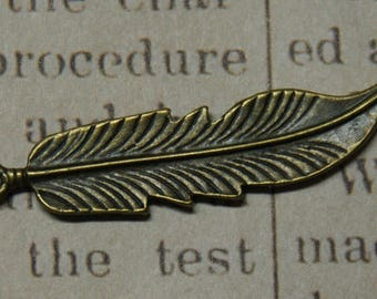 2 large 46x11mm bronze feather charms