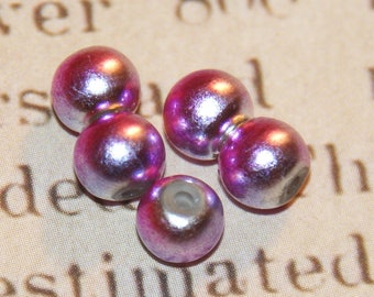 10 round beads pink and purple iridescent acrylic 6mm