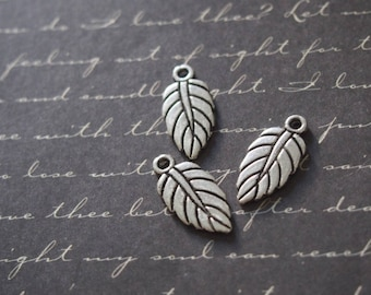 3 flat leaf veins 19x9mm silver charms