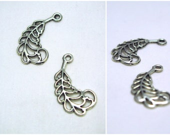 2 29x15mm silvered metal feather charms