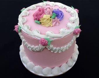 6 Inch Pink Rosebud Fake Cake