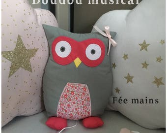 Musical plush or plush OWL or grey OWL and pink Liberty a handcrafted unique and original gift