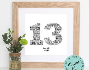 13th ANNIVERSARY GIFT - Word Art - Printable Gift - 13 Year Anniversary - 13th Wedding Anniversary - Word Art Gift - Personalised Gifts