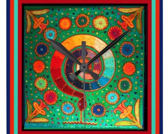 Huichol Peyote Snake Design Wall Clock Gift - Round Acrylic Battery Wall Clock - Huichol Wall Clock Gift - Huichol Ritual Wall Clock Gift