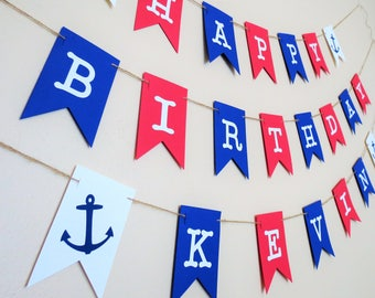 Nautical Birthday Banner - Personalized Birthday Banner - Nautical Decor - Party Decor