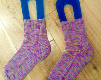 Hand knitted bamboo socks size uk 4-5 pink mauve green mix