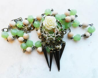 Handmade Spiked Dream Catcher Necklaces with a White Rose on a Green Crystal and Wood Beaded Chain