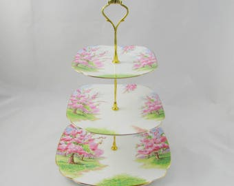 Three Tier Cake Stand Made from Royal Albert Blossom Time Plates, Vintage Bone China