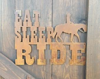 Eat Sleep RIDE, Horse Decor, Rustic Farmhouse style Decor, Country Style, Fixer Upper, Nursery, Child's Room, Horse, Barn decor, Ranch sign