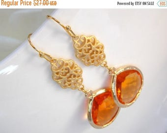 SALE Wedding Jewelry , Orange Earrings, Gold,Tangerine, Carnelian, Bridesmaid Earrings, Bridesmaid Gifts, Bridesmaid Jewelry, Bride Gifts,Lo
