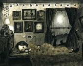 "11""x14"" Sweet Dreams & Cat Cuddles (print of an original painting by Sophia Rapata)"