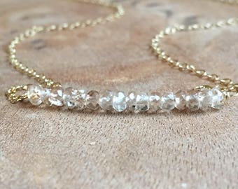 Topaz Necklace - Champagne Topaz Necklace- November Birthstone Jewelry- Topaz Jewlery - Imperial Topaz Necklace Gold or Silver