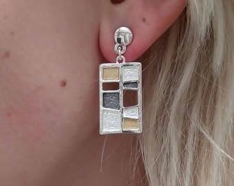 Hypoallergenic earrings.Dangle earrings.Lightweight earrings.Statement earrings.Silver&Gold plated earrings.Long earrings.Gift for wife.