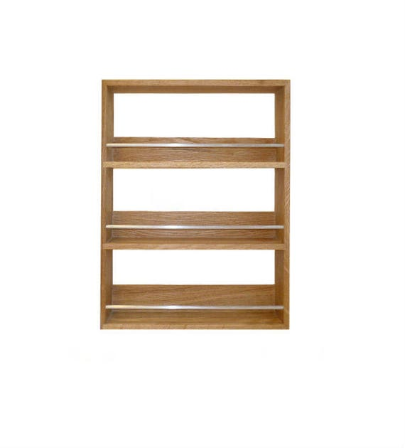 Solid Oak Spice Rack Contemporary Style 3 Shelves Freestanding