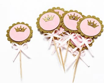 12 Princess Cupcake Toppers, 1st Birthday Party, Gold, Pink, Bachelorette Party Picks, Party Picks, Cupcake Toppers, Princess Decor, Crown