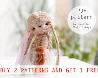 OOAK Miniature Teddy Bunny pattern, teddy bear bunny pattern, teddy pattern, teddy bear, soft toy pattern, teddy bunny, 4.9 inches