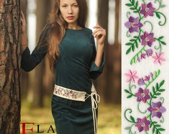 White velvet flower embroidery belt