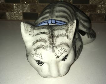 Gray Sleeping Ceramic Cat