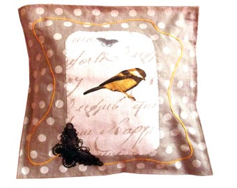 Linen with yellow bird pillow cover