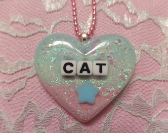 Kawaii Cat Resin Heart Necklace