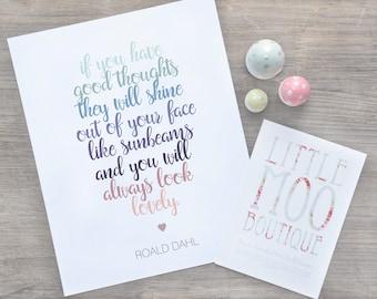 Roald Dahl Quote Print - Roald Dahl print - Nursery decor - baby gift - Wall Art - Motivational Art - kids prints - Nursery wall art