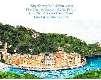 Standard Size Prints,Portofino,Limited Editions,Prints by the artist,Canvas Prints, Prints of Boats,bridges,patios,boats, harbor,village,sea