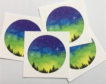 Galaxy Watercolor Painting, Galaxy Art Print, Watercolor Galaxy, Watercolor, Digital Print, Mountain Painting, Galaxy Painting, Square Print