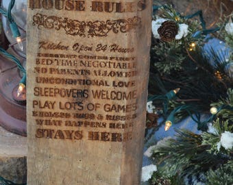 "Grandma's ""House Rules"" laser engraved in reclaimed barnwood."