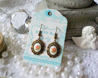 Earrings bronze metal and porcelain cabochon