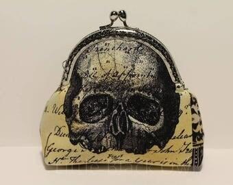 Skull coin pocket and writing 'skull' cotton