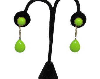 Trifari Lime Green Dangle Earclips Vintage 1960 Disco Earrings Mid Century Style Mad Men Style Boho Gift For Her