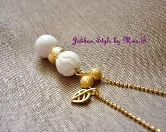 """8"" long necklace - white - lotus"