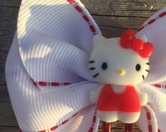 Red and White Hello Kitty Planner Bow Clip