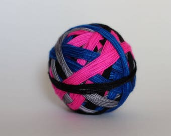 """SKEIN - Ready to Ship! Spark Sock: """"Sizzle (Self-striping)"""" - Light Gray, Hot Pink, Electric Blue, Black stripes"""