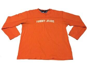 Vintage Orange Tommy Hilfiger Jeans Long-Sleeve Shirt