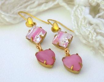 Pink Earrings Vintage Pink Brass Earrings Glass Heart Earrings  Valentines Jewelry  Art Deco Earrings Victorian Style Gift for Her