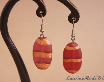 Boucles d'oreilles en verre fumé rouge et bronze