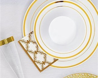 Gold Premium quality Party Dinnerware. Complete range of Dinnerware, Party complete set, cups, plate, cutlery