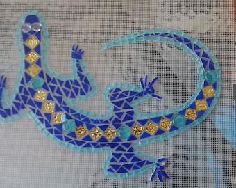 Salamander mosaic on mesh color choice to order