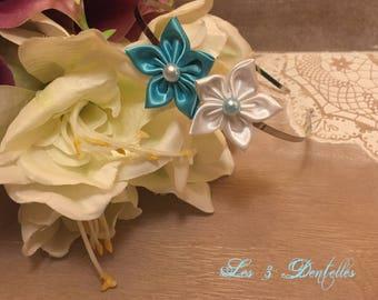 Wedding white turquoise satin flower headband * 3 lace *.